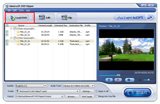 Aimersoft DVD Ripper Screenshot 2: Rip any DVD movie you own, with automatic removal of DVD restrictions and protection