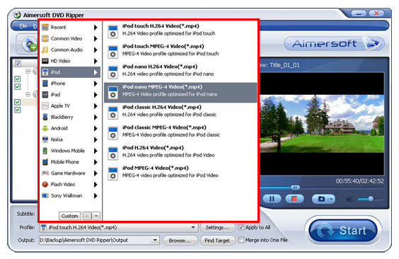 Aimersoft DVD Ripper Screenshot 3: Rip DVD to any device like Apple; iPod, iPhone, and iPad