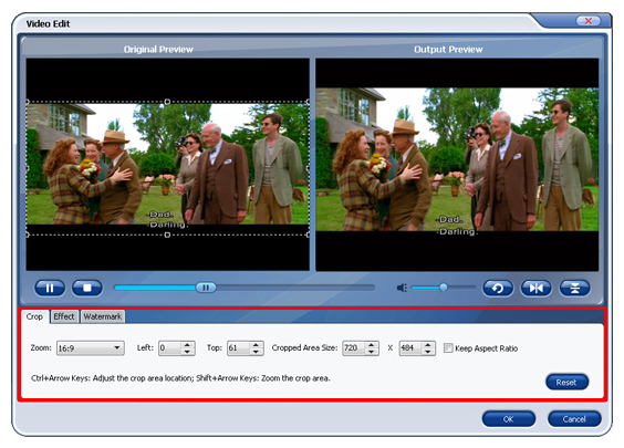 Aimersoft DVD Ripper Screenshot 4: Crop black bars, trim unwanted video parts and adjust video for perfect DVD ripping