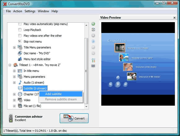 ConvertXtoDVD Screenshot 3: Add subtitles to your ConvertXtoDVD project. If they have the same name they will be detected automatically, otherwise add them manually as shown.