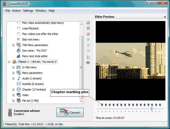 ConvertXtoDVD Screenshot 4: ConvertXtoDVD automatically builds chapters with a predefined duration for each, customize the duration time or pull the Pins to customize each chapter!