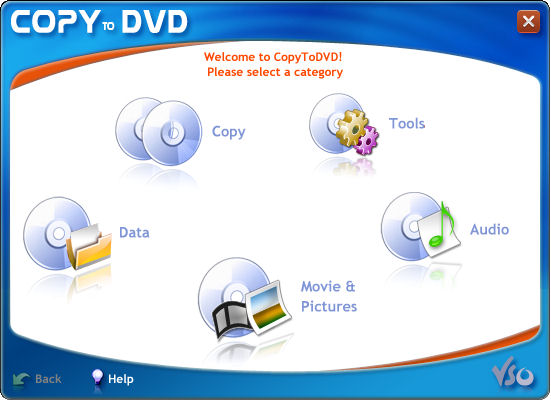 VSO CopyToDVD Screenshot 1: CopyToDVD main interface: choose to burn data, movie, audio or pictures.