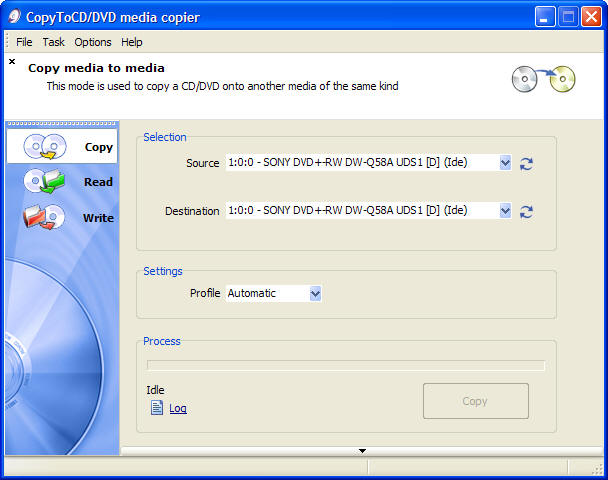 VSO CopyToDVD Screenshot 2: Burn Media with CopyToDVD: Copy DVD to DVD