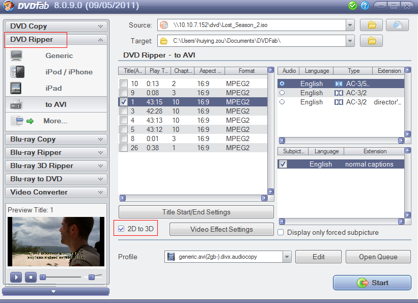 DVDFab 2D to 3D Converter Screenshot 1: Choose the 2D to 3D option and you will be able to convert any regular movie (e.g. DVD) into brilliant 3D.