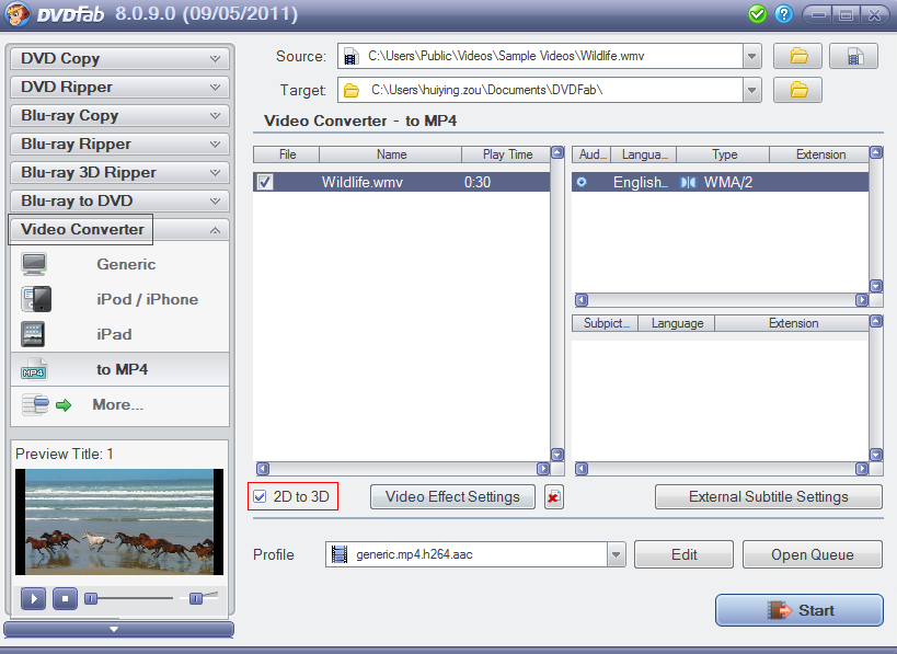 DVDFab 2D to 3D Converter Screenshot 3: 2D to 3D Converter works out of the box with DVDFab products, including DVD Ripper, Blu-ray Ripper and Video Converter.