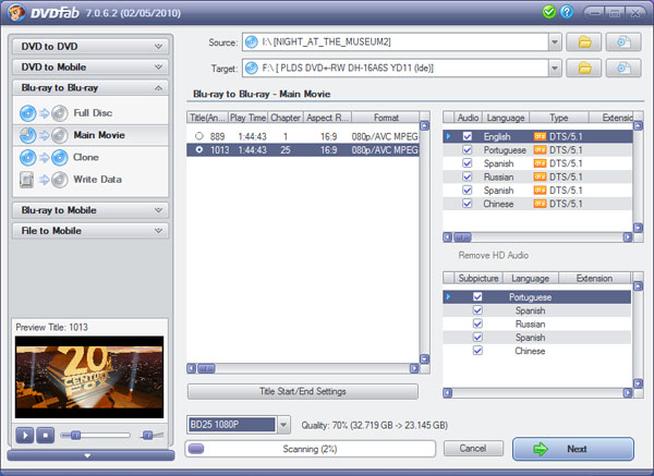 DVDFab Blu-ray Copy Screenshot 1: Copy a blu-ray movie you own, using this intuitive program interface