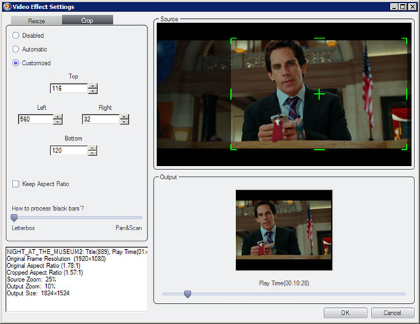 DVDFab Blu-ray Ripper Screenshot 3: Resize or Crop Blu-ray movie for best playback on your mobile screen