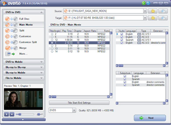 DVDFab DVD Copy Screenshot 2: Customize your DVD copy with easy to use interface