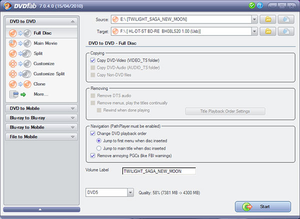 DVDFab DVD Copy Screenshot 4: Start copying to DVD media or just rip movie to your PC