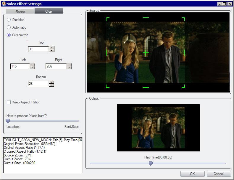 DVDFab DVD Ripper Screenshot 4: Crop black areas for perfect playback on your iPod, PSP or iPhone