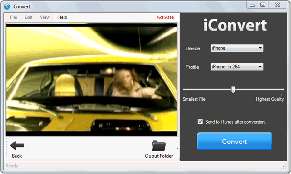 iConvert Screenshot 4: You can preview any multimedia file you add to iConvert, before starting to convert.