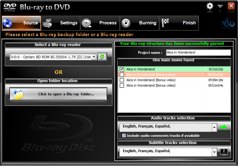 VSO Blu-ray to DVD Converter Screenshot 1: Select Blu-ray titles that you want to burn to DVD. Audio tracks and subtitles selection is also made possible