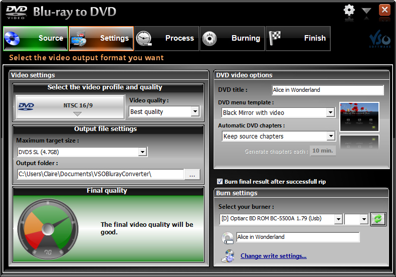 VSO Blu-ray to DVD Converter Screenshot 2: Choose Blu-ray conversion, and DVD burning settings