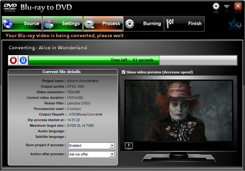 VSO Blu-ray to DVD Converter Screenshot 3: VSO Blu-ray to DVD ensures you get the best possible quality in your (output) DVD movies. done in the shortest time.