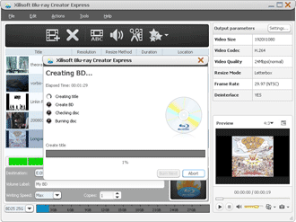 Xilisoft Blu-ray Creator Express Screenshot
